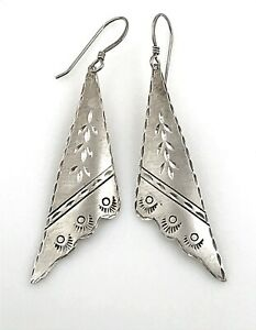 Vintage-925-Sterling-Silver-Southwestern-Style-Dangling-Handkerchief-Earrings