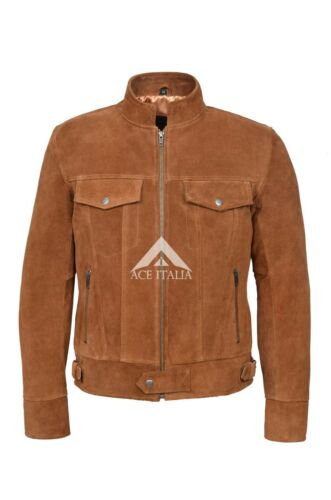 1345 New Men/'s Tan SUEDE 1960/'s Classic TRUCKER Real Western Leather Jacket