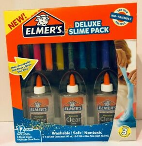 Elmer-039-s-Deluxe-Slime-Pack-Includes-3-Clear-Glues-amp-9-Glitter-Glue-Pens-New
