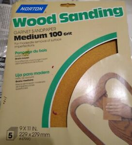Vintage-Norton-Wood-Sanding-paper-Abrasives-47990-5PK9x11-100G-Sheet-1995