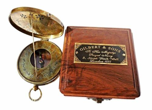 Nautical Maritime Compass Brass Sundial Compass With Box antique Cord Sundial