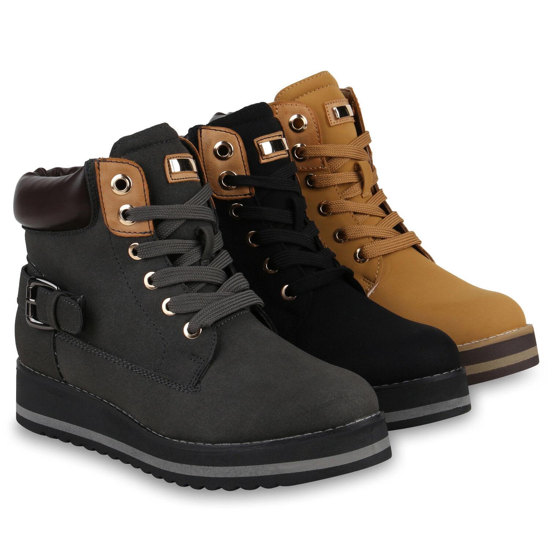 Damen Stiefeletten Plateau Boots Gefüttert Wedges Schnallen 819415 Schuhe