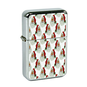 Refillable Oil Windproof Flip Top Lighter Christmas Santa Face Retro Vintage Img