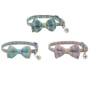 3X(Pet Dog Supplies Cute Buckle with Bell Pets Dog Collar with Lattice Bowk9W1)
