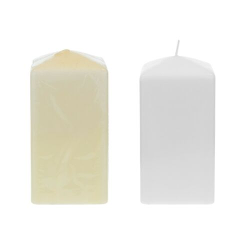 """Mega Candles Ivory 6PCS Unscented 3/""""x 6/"""" Square Dome Top Pillar Candle"""
