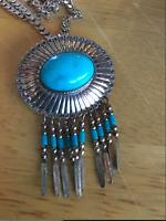 Sterling Turquoise Dangle Pin/pendant Southwestern Qt Quoc Vintage J1017