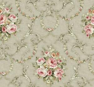 Wallpaper-Lg-Traditional-French-Floral-Rose-Bouquet-Vine-Trellis-on-Taupe-Gray