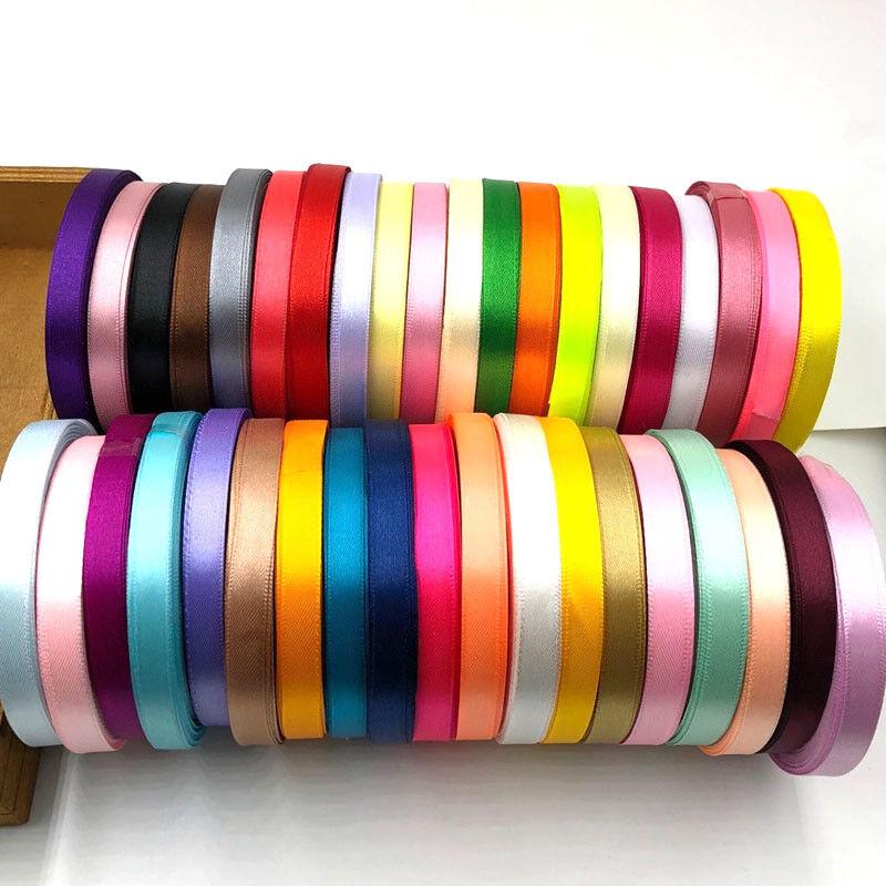 25//50Yard Satin Ribbon 3//6//10//15//20//25//38//50mm Craft Bow Wedding Decor 30 Color