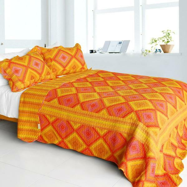 3 PC Burning Flame red orange pink gold diamonds 100% Cotton Queen Quilt Shams