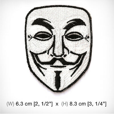 New V For Vendetta Embroidered Patch Iron on or sew , White Mask Movie Hollywood