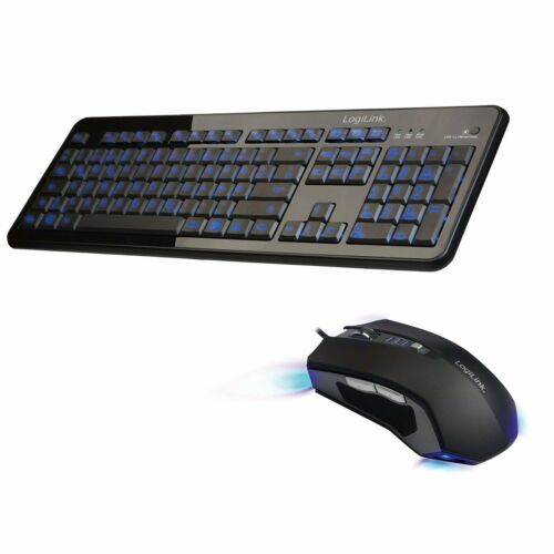 PC Computer Tastatur beleuchtet + Maus schwarz blaue LED Beleuchtung QWERTZ NEU