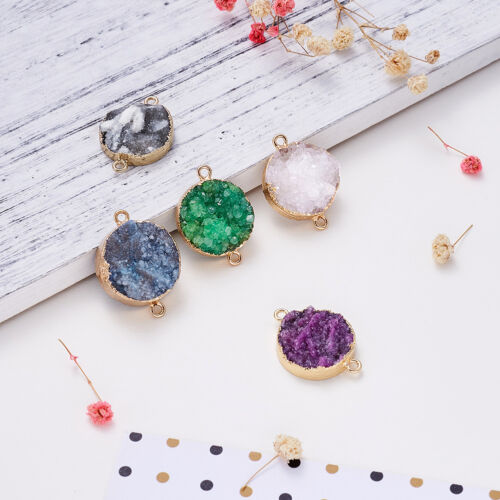 5x Druzy Natural Agate Stone Charm Connectors 1//1 Loop Light Gold Plated 30~40mm
