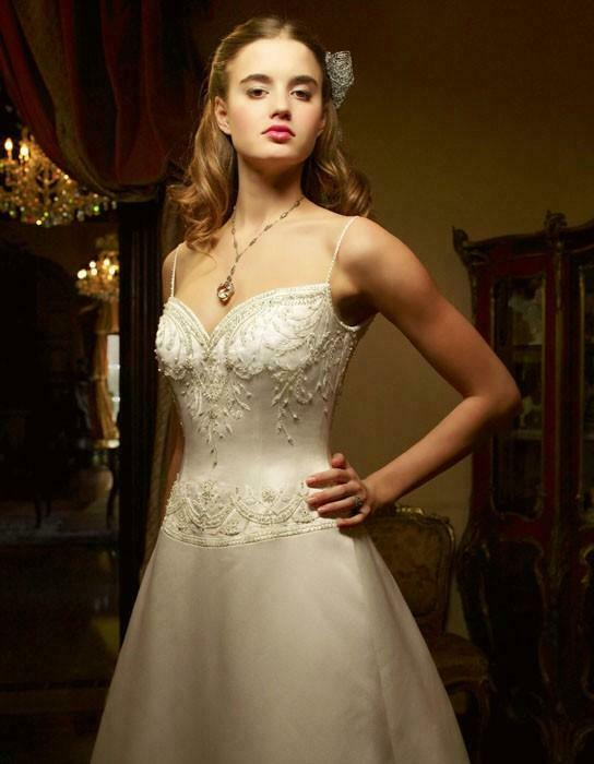 NWT Casablanca Ivory/Silver with beaded straps Wedding Bridal Dress Gown Size 12