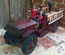 "Large Toy Fire Truck Hook & Ladder Steam Engine Rare Leonardo Luna Sculpture 28"""