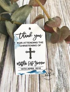 10-White-Gift-Tags-Religious-Cross-Christening-Bomboniere-Personalised-Custom