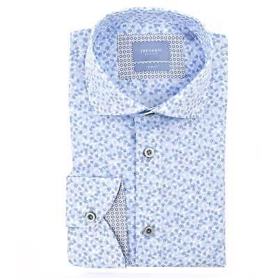 Intelligente Camicia Da Uomo Bianca Tresanti Con Piccoli Fiori Blu-mostra Il Titolo Originale Superiore (In) Qualità