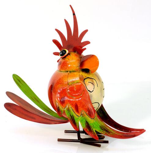 24 cm groß 920455 Metall Vogel bunt witzig NEU Gartenfigur Dekovogel
