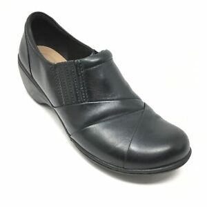 Women-039-s-Clarks-Collection-Clogs-Booties-Shoes-Size-8-5-M-Black-Leather-Zip-Up-K5