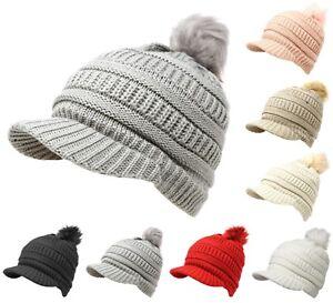 fae1296c166 Women s Winter Pom Pom Visor Beanie Knit Hat Cap Fur Crochet Cold ...