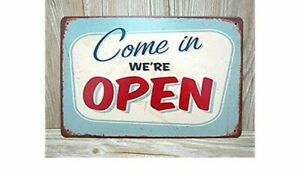 Come-in-We-039-re-OPEN-Metal-Tin-Sign-Vintage-Wall-Ornament-Coffee-amp-Bar-Decor