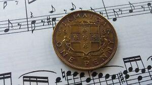 JAMAICA-1-penny-1937-KM29-Ni-Brass-GVI-1-yr-type-HIGH-GRADE-cleaned-SCARCE