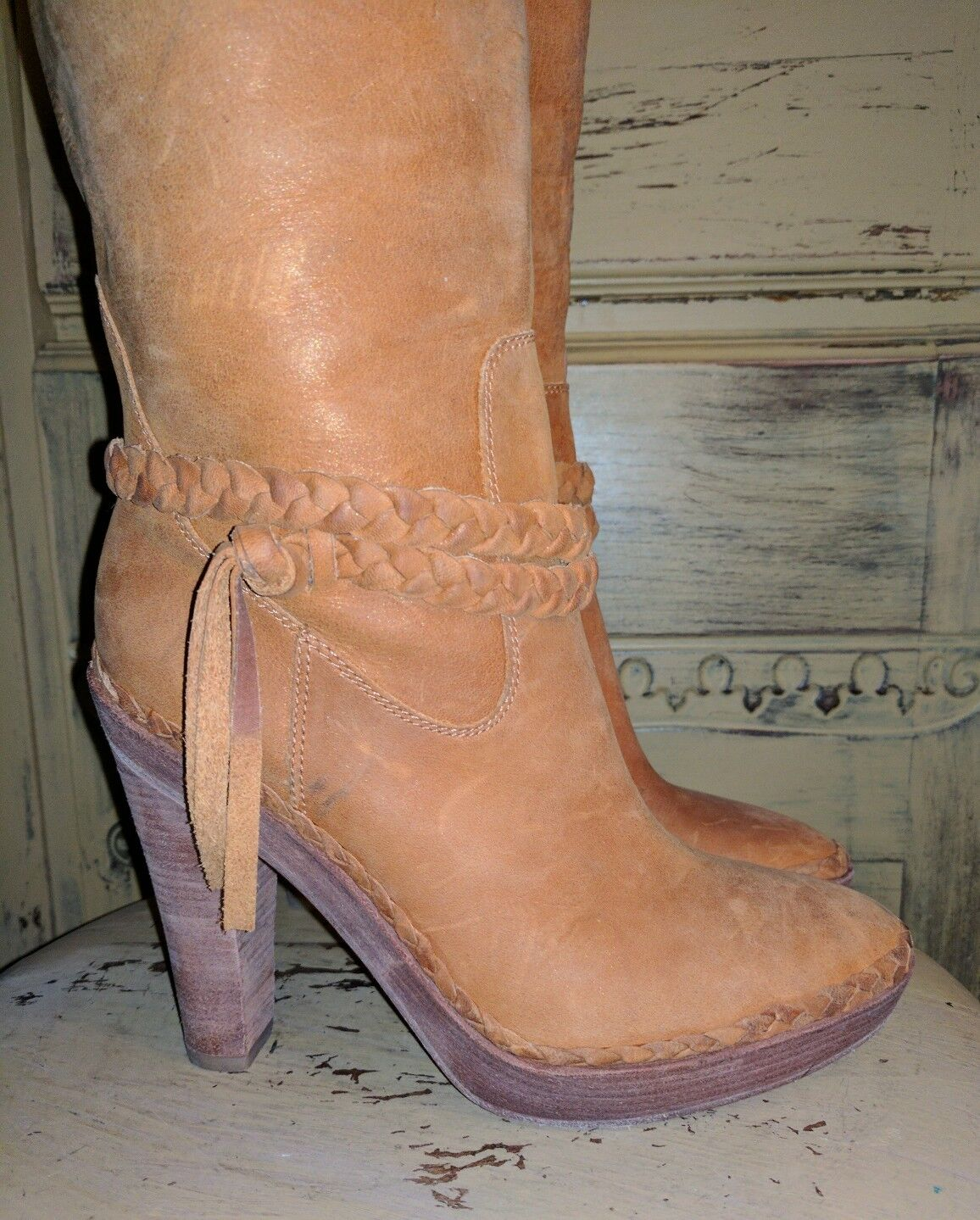 COLE HAAN G SERIES SOFT NUBUCK BOOTS LEATHER HIGH HEEL RIDING BOOTS NUBUCK N AIR 7.5 M 916e8a