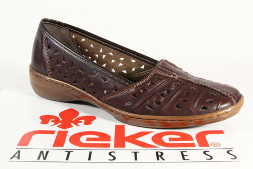 Rieker slipper ballerines chaussures basses Escarpins véritable cuir marron NOUVEAU!