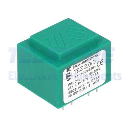 1pcs  Trasformatore incapsulato 2VA 24VAC 9V 9V Montaggio PCB IP00 TELSTORE