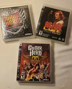 PlayStation3 Guitar Hero Game Bundle Lot GH 3 Warriors of Rock, AC/DC& Areosmith