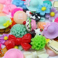 Lot 50pc Mix Assort Resin Flat Back Scrapbook Buttons Craft for Phone DIY Craft