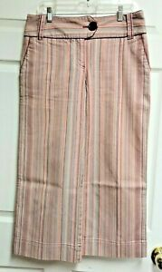 NINE-amp-CO-Weekend-Stretch-Capris-Pants-Red-amp-Multi-colored-Striped-Womens-Sz-8