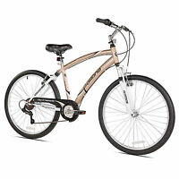 Northwoods Pomona 26 Men's 7 Speed Dual Suspension Fitness Cruiser Bike, Gold on sale