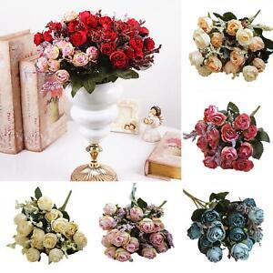 Am-ALS-15-Heads-Bouquet-Artificial-Fake-Rose-Flowers-Bridal-Wedding-Home-Decor