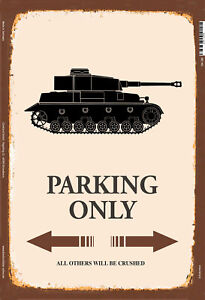 Tank-Parking-Only-Tin-Sign-Shield-Arched-7-8x11-13-16in-SM0288