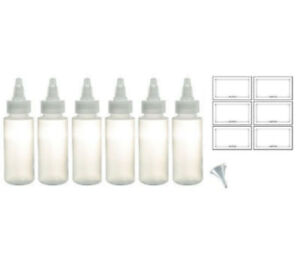 Twist Squeeze Top Natural Clear Plastic Bottle 2 oz (6 pack)+Labels & a Funnel