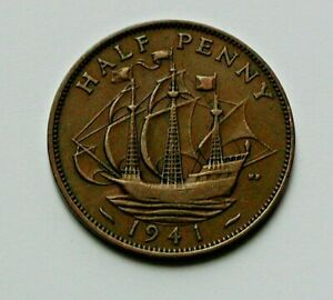 1941-UK-British-King-George-VI-Coin-Half-Penny-1-2d-brown