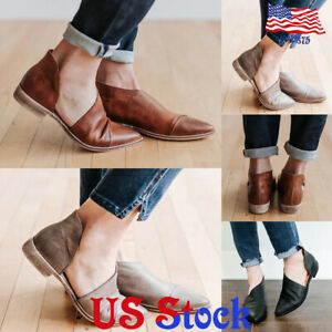 Women-Slip-On-Casual-Single-Shoes-Mid-Block-Heel-Side-Empty-Pointy-Ankle-Boots