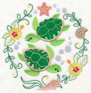 OTTER CIRCLE TO CUTE NEW SET OF 2 BATH HAND TOWELS EMBROIDERED BY LAURA