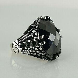 Details zu 925 Sterling Silber Man Ring Schwarz Onyx Edelstein Handgefertigt Ottomane Stil