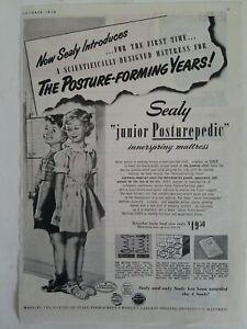 1950-Sealy-Menor-Posturepedic-Cama-Colchon-para-Ninos-Vintage-Anuncio