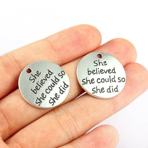 20Pc Silver Plated She Believed Charm Pendant Necklace Bracelet DIY Making Craft