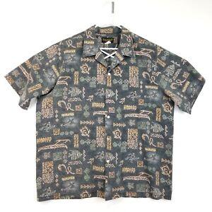 Island-Aloha-Wear-Mens-Shirt-2XL-Hawaii-Turtles-Natives-Hawaiian-Tiki
