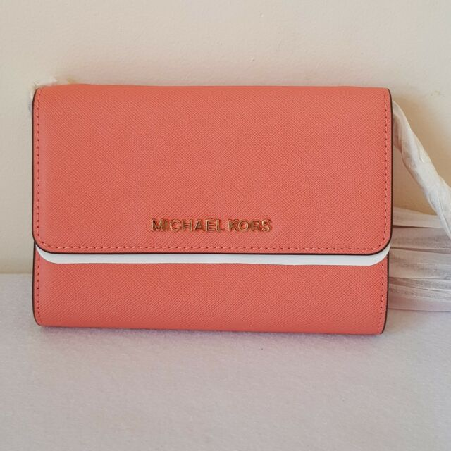 137beac1145f SALE! MICHAEL KORS JET SET TRAVEL SAFFIANO LEATHER SMARTPHONE CROSSBODY  PINK GR