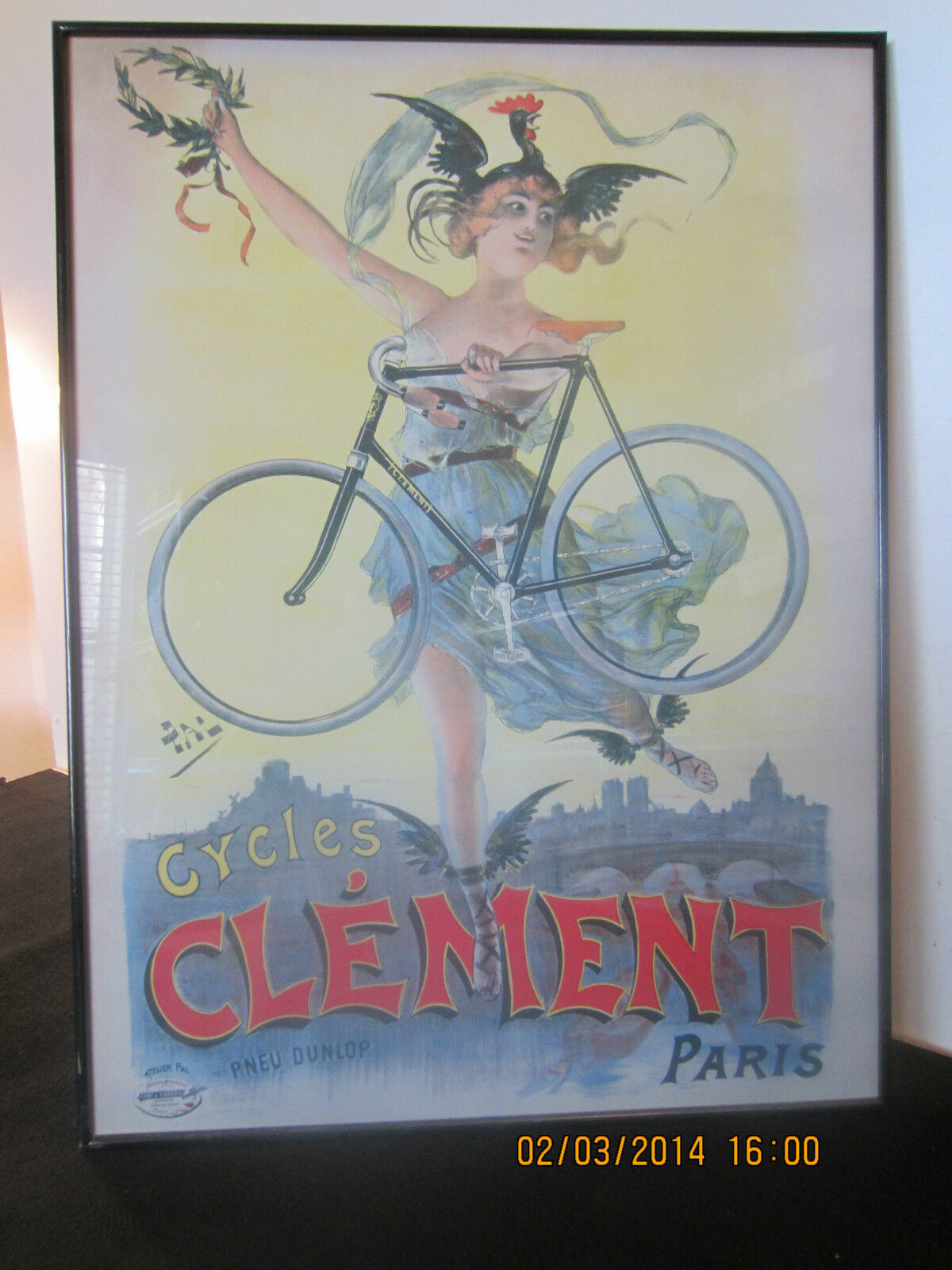 FRENCH CYCLING  CLEMENT, PARIS  FRAMED POSTER