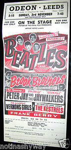 BEATLES-Poster-Leeds-Vintage-Antique-Concert-Rock-n-Roll-Pop-Music-Liverpool-UK