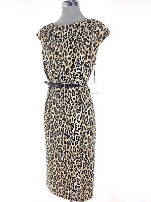 Calvin Klein NWT Tan Black Leopard Animal print Dress Plus Size 14W L@@K  !!! | eBay