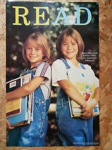 Mary-Kate-amp-Ashley-Olsen-Twins-Library-READ-Poster-Laminated-1998-Books-Vintage