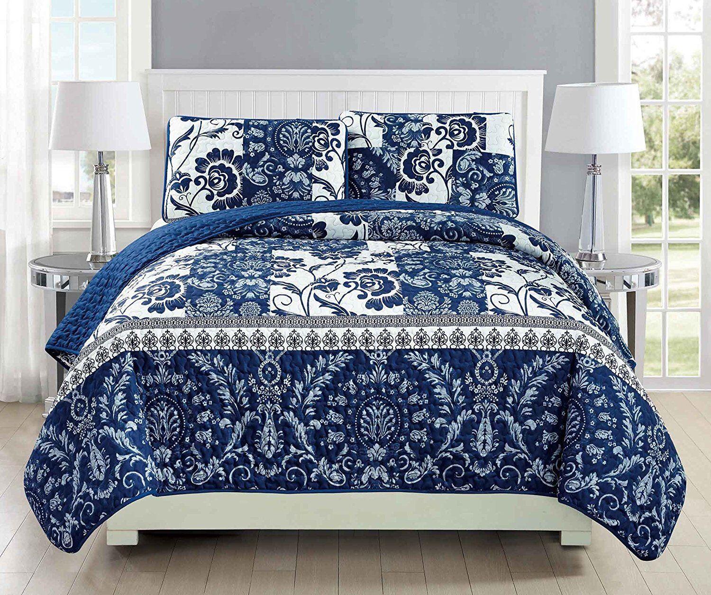 Fancy Linen Over Größed Quilt Bedspread Floral Navy Blau Weiß All Größes New