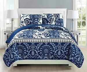 Fancy-Linen-Over-Sized-Quilt-Bedspread-Floral-Navy-Blue-White-All-Sizes-New