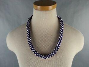 Vtg-American-Southwest-Beaded-Necklace-Souvenir-1970-039-s-1980-039-s-Twist-Blue-White